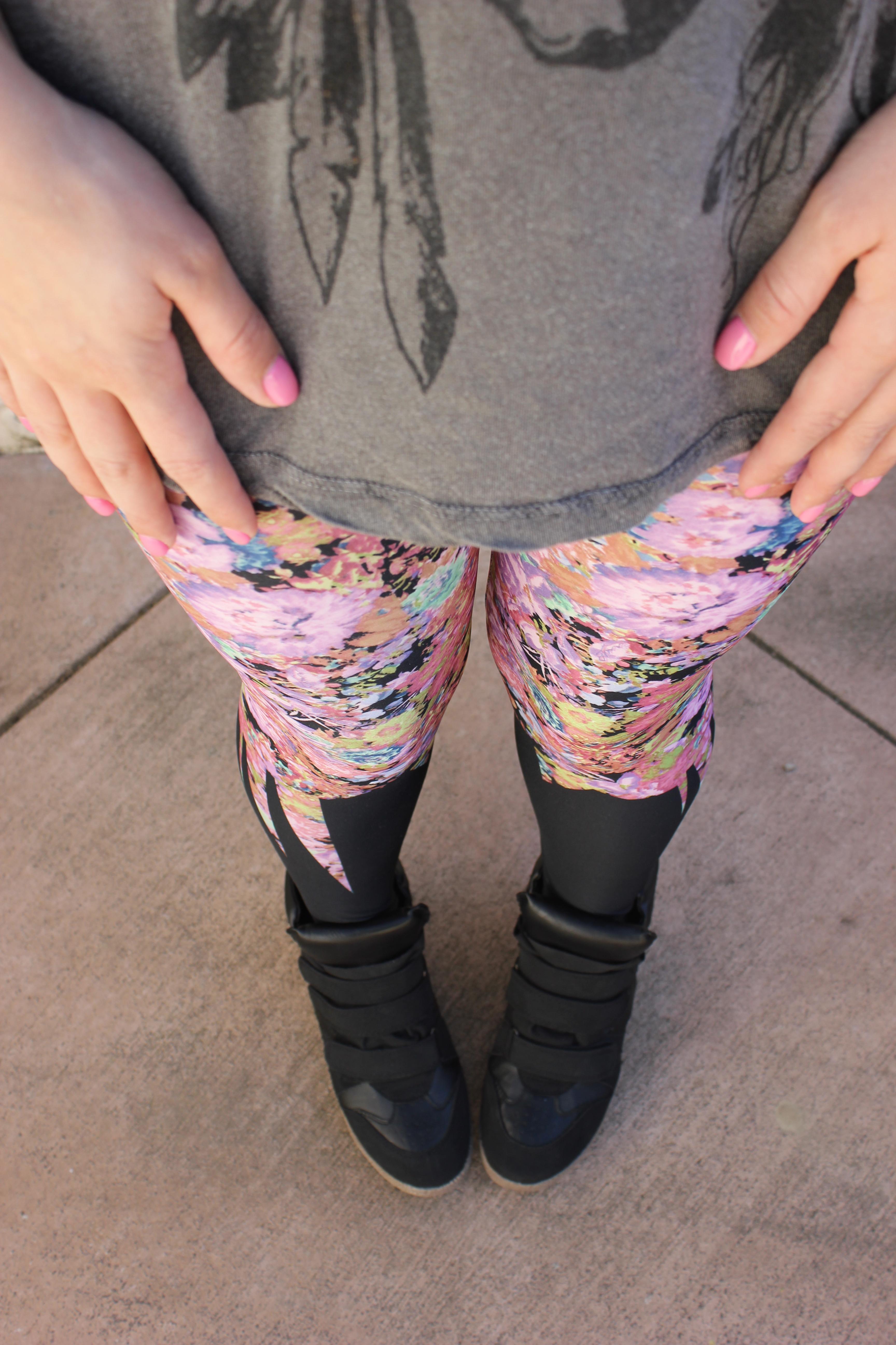 floral leggings | Layers & Chuck Taylors